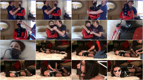 Bondage, domination and wrist and ankle bondage for hawt cutie in latex