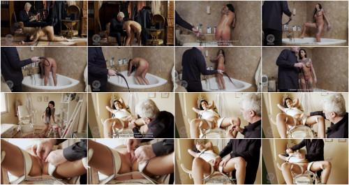 Dirty female servant enjoys physical drill