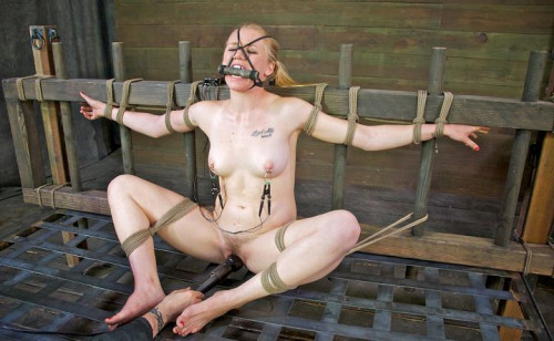Sweet girl in BDSM action