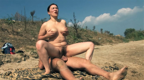 Slut Mom and young boyfriend on the Nude Beach fuck for money