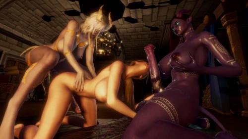 Draenei Futa Threesome [2021,3D,All sex]