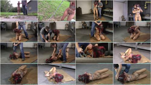 Hard bondage, domination and hogtie for naked slave girl - Full HD