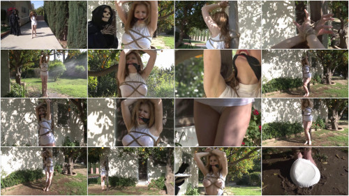 Tight restraint bondage, domination and strappado for lewd golden-haired