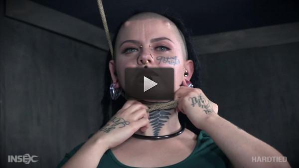 Hardcore chick in rough bondage