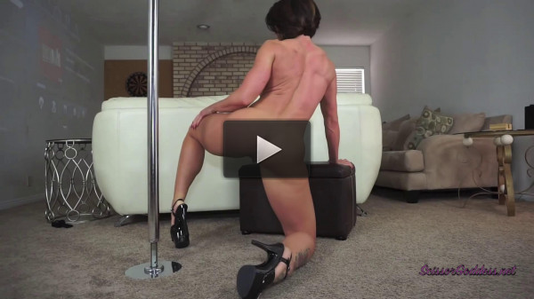 Goddess Rapture dances on pole and strips down for you then rubs her pussy