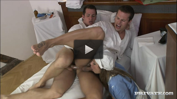 Rachel Evans Gets Involved When two Guys Start Sucking Each Other Off - bisex, sucks, spa, nurse
