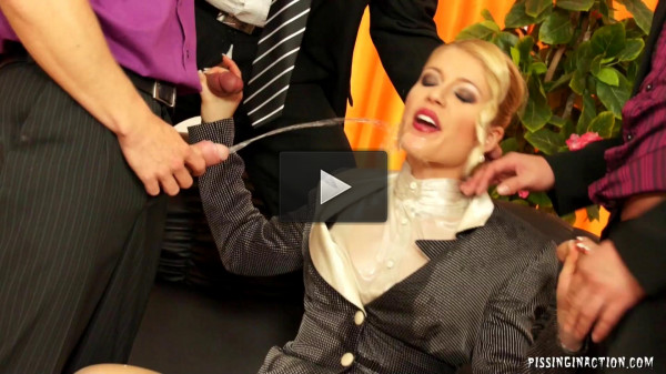 Naughty Babe Takes On Four Dudes In Piss Gangbang Action