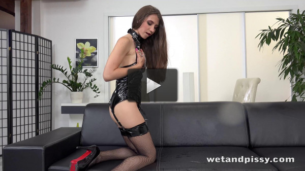 PVC and Chains - floor, stockings, toy, sofa, pussy