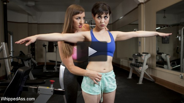 Going the Extra Mile: Strict Trainer Dominates Lesbian Gym Slut - finger, dick, ass, les