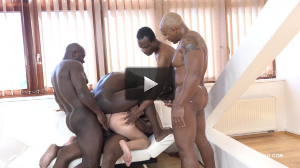 Sexy milf whore enjoys five black cocks in gangbang