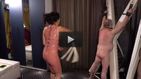 Mistress Lucy Khan — Latex Governess beats Her Whipping Boy — ManyVids
