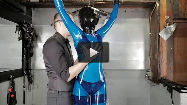 Super bondage, strappado and torture for sexy girl in latex