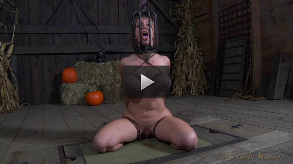 Big breasted blonde Darling trained for brutal deepthroat in headcage (brutal, showing, leather).