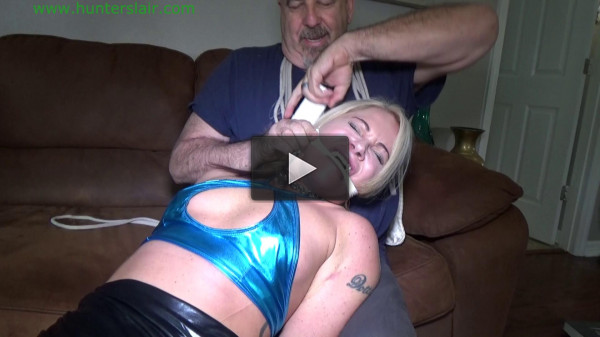 Hot blond bimbo brutally bound, gagged & hogtied in boots