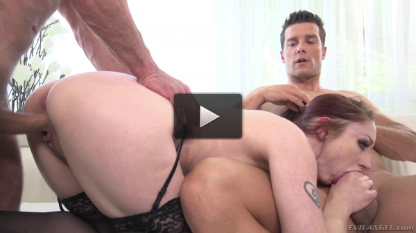 Sexy Redhead Violet Monroe Enjoys Two Men