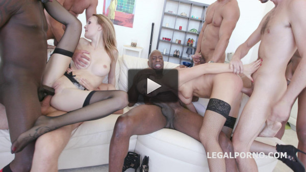 Crazy Interracial Gangbang With Double Anal