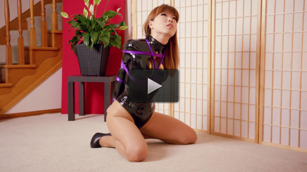 Black Stretch PVC Thong Bodysuit — Mina — Full HD 1080p