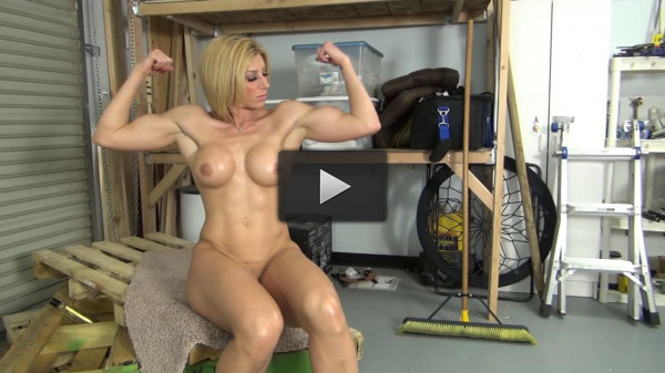 Goddess Rapture fights big bufff guy, jerks his cock, and gets fucked