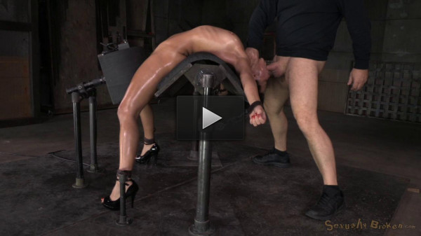 Mia Austin Tightly Bound In Back Arch, Sybian Orgasms, Brutal Messy Deepthroat!
