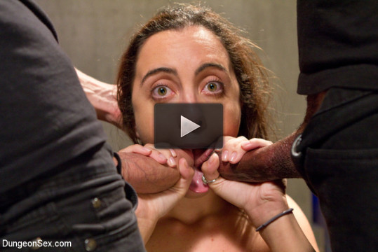 Dungeon Slut Suspended and Fucked by Two Huge Cocks - huge, double, cut, english, fucked