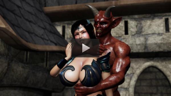 Noble Elven Knightess - Devilish Juice Excreting Flesh Hole Princess