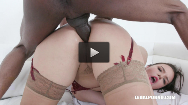 Busty Sofia Lee tastes african champagne & takes two cocks in the ass