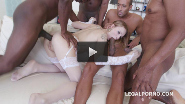 Sexy Blond Belle Claire Gangbanged By 5 Huge Dicks