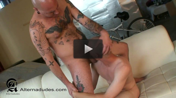 AlternaDudes - Hairy Tatted Boxer Dominates Femme Twink Bottom - Lorne Rox & Skittles
