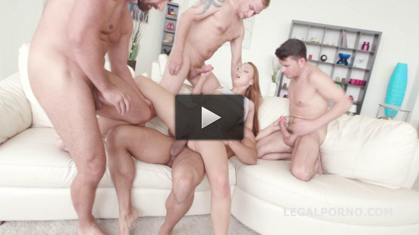Hot Slut Ornella Morgan Gets 5on1 Anal Orgy With Intense DP