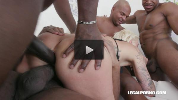 Sexy Blond Mila Milan Gangbanged By 4 Black Dicks
