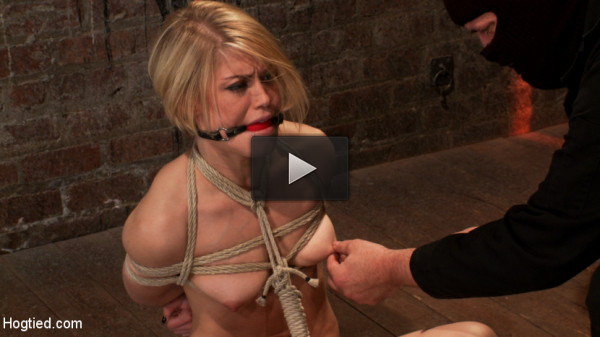 Hot blond's nipples are abuse, feet tickled, & pussy fucked with a stick, made to cum like a whore (bondage, fuck, cum, kink)
