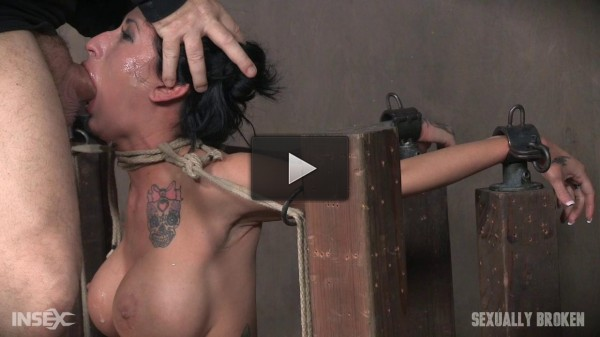 Lily lane is destroyed by a brutal face fucking, while being made to cum over and over!.