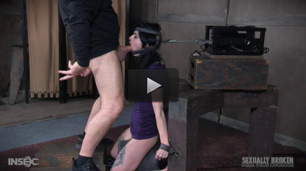 Lydia Black locked into automatic blowjob machine sucks two giant dicks! (2017)!