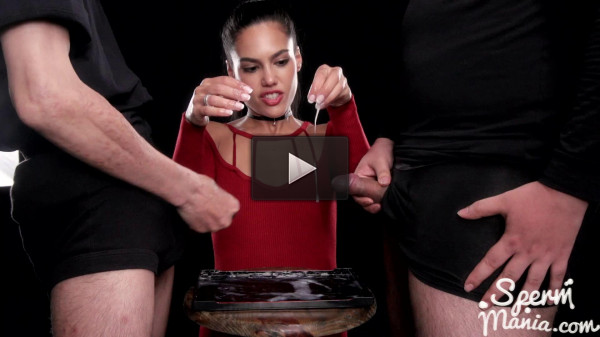Apolonia Lapiedra Uses Cum to Stroke A Bunch of Dicks