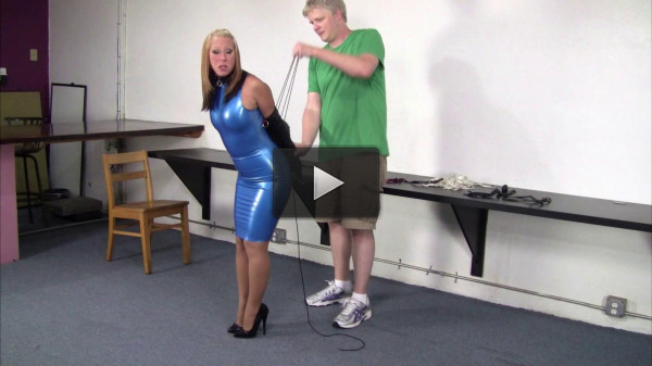 mouth body (Crystal Frost - Secretary in a blue latex dress, collared, leashed and trained).