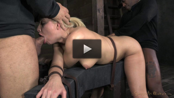 SexuallyBroken - Beautiful blonde Anikka Albrite deep throats 10 inch Bbc...