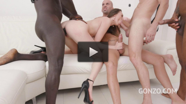 Isabella 4on1 fuck with 2 bbc and two huge white cocks