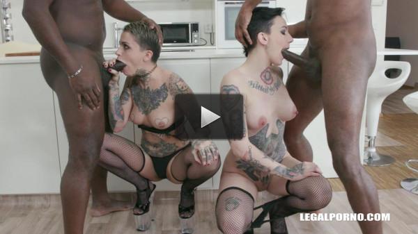 Leigh Raven & Nikki Hearts Gangbanged & Dap'ed By Big Black Cocks