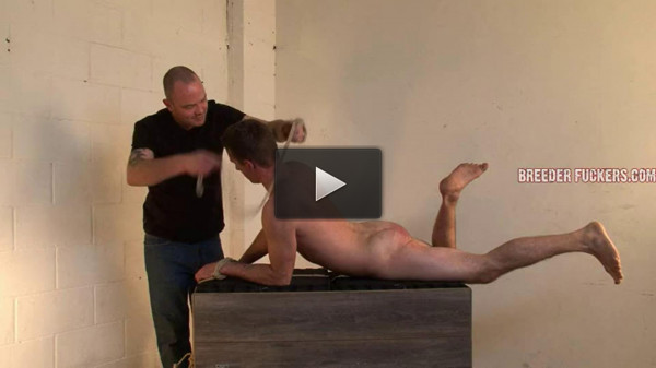 Shamus — Tied arse up on a block of wood