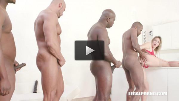 Big Ass Emma Klein in crazy interracial orgy with 4 big black cocks